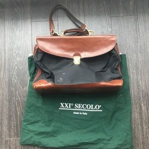 XXi Secolo Canvas & Leather Briefcase w/ Strap